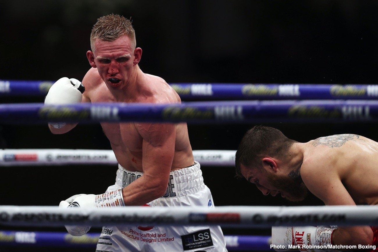 Sam Eggington, Ted Cheeseman - In a thrilling back and forth war, Ted Cheeseman (16-2-1, 9 KO) came out ahead on Saturday night, defeating IBF International junior middleweight champion Sam Eggington (28-7, 17 KO) by a 12 round unanimous decision by the scores 115-114, 116-113, and 116-113.