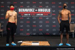 David Benavidez, Roamer Alexis Angulo -  WBC Super Middleweight World Champion David Benavidez missed weight today at the official weigh-in for Saturday's SHOWTIME CHAMPIONSHIP BOXING tripleheader, losing his world title belt on the scale. Benavidez will face world title challenger Alexis Angulo in the main event as planned. Angulo can earn the WBC 168-pound title with a win.  All other fighters on the card made weight.  Final weights, photos and officials are below.