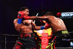 Davis Benavidez, Otto Wallin, Rolando Romero -  David Benavidez kept his unbeaten record intact after 23 fights with a dominating performance against Alexis Angulo in the main event of an exciting night of boxing live on SHOWTIME Saturday night from Mohegan Sun Arena in Uncasville, Conn., presented by Premier Boxing Champions.