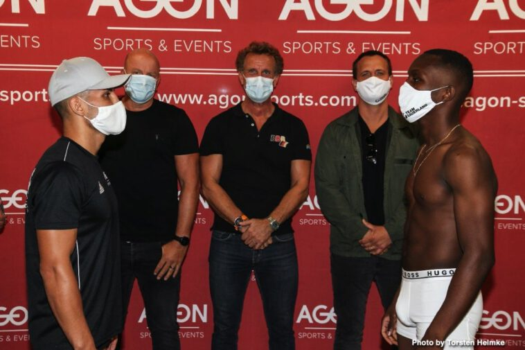 Abass Baraou, Jack Culcay, Vincent Feigenbutz - Abass Baraou (9-0, 6 KOs) and Jack Culcay (28-4, 13 KOs) both made weight ahead of their hotly anticipated 'Fight of The Year' which takes place tomorrow night at the Havel Studios in Berlin.