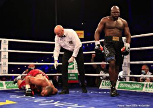 "Boxing Interviews - ""I Will Fight Twice More This Year"" - Kevin ""Kingpin"" Johnson scored an upset win in Germany on Saturday night in stopping former cruiserweight champ Yoan Pablo Hernandez in the seventh round. 40 year old Johnson, 35-17-1(19) and stopped just three times, is now looking at capitalising on the big win. Closing in on retirement after 17 long years in the sport, Johnson says he is looking at big fights and how he plans to fight twice more before the end of the year."