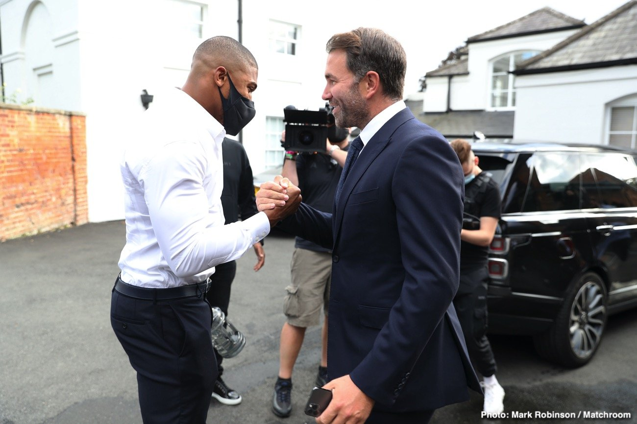 """Anthony Joshua, Tyson Fury - Eddie Hearn has urged Tyson Fury to go straight into a mega-match-super-fight with Anthony Joshua next. No messing about, no """"tune-up"""" or """"stay busy"""" fight or fights in the meantime: Hearn wants Fury to get in there with Joshua ASAP. It sounds great, of course. But making plans in boxing can appear far more straightforward than is actually the case"""