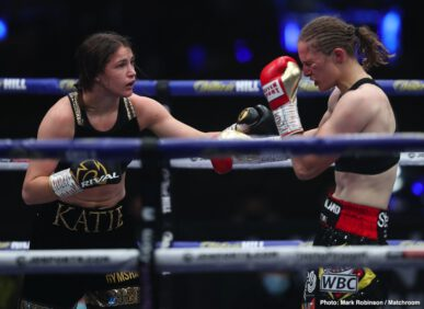 Delfine Persoon, Katie Taylor - Undisputed women's lightweight champ Katie Taylor won the big rematch tonight at Matchroom HQ, as she was awarded a ten-round unanimous decision over the extremely tough and aggressive Delfine Persoon. At the end of ten all-action rounds, Irish star Taylor walked away with a win via scores of 98-93 and 96-94, 96-94. Taylor, the younger woman by a year at age 34, is now 16-0(6). Persoon of Belgium is now 44-3(18).