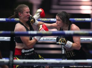 Katie Taylor - Undisputed women's lightweight champ Katie Taylor won the big rematch tonight at Matchroom HQ, as she was awarded a ten-round unanimous decision over the extremely tough and aggressive Delfine Persoon. At the end of ten all-action rounds, Irish star Taylor walked away with a win via scores of 98-93 and 96-94, 96-94. Taylor, the younger woman by a year at age 34, is now 16-0(6). Persoon of Belgium is now 44-3(18).