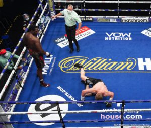 Alexander Povetkin, Dillian Whyte, Eddie Hearn - The Body Snatcher Dillian Whyte's dreams of fighting for a world title in early 2021 fell apart for him tonight when the underdog Alexander Povetkin knocked him flat in round 5 at the Matchroom Fight Camp in Brentwood, Essex.