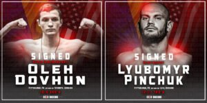"Lyubomyr Pinchuk, Oleh Dovhun - JOE DEGUARIDA'S STAR BOXING is pleased to announce the signing of two Ukrainian standouts in undefeated super bantamweight OLEH ""UKRAINIAN PITBULL"" DOVHUN (10-0 3KO's) and heavyweight LYUBOMYR ""DEMOLITION MAN"" PINCHUK (12-1-1 7KO's), who both now live, fight and train out of Pittsburgh, PA."