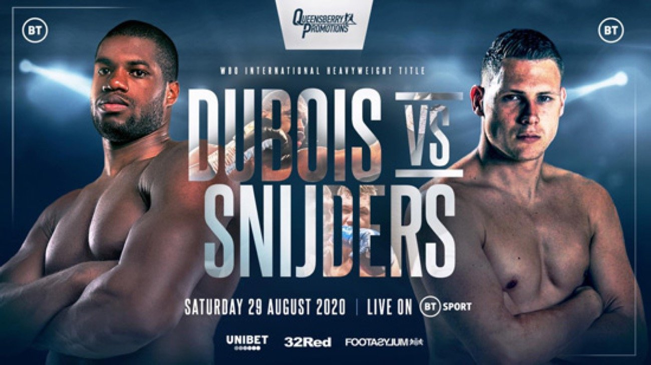 Daniel Dubois, Ricardo Snijders - Daniel Dubois (15-0, 14 KOs) successfully defended his WBO International heavyweight title in defeating Ricardo Snijders (18-2, 8 KOs) by a second-round knockout on Saturday night at the BT Sport Studios in London. Before it was over, Dubois had knocked the 26-year-old Snijders down four titles.