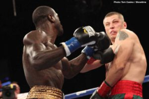 """Deontay Wilder - Can former WBC heavyweight champion Deontay Wilder get back to scoring the kind of scary and chilling KO he delivered on this day back in 2013? It was seven years ago today when a 28-0 (28) Wilder faced former WBO heavyweight champ Siarhei Liakhovich in what some felt might prove to be a somewhat testing fight for the 27-year-old """"Bronze Bomber."""""""