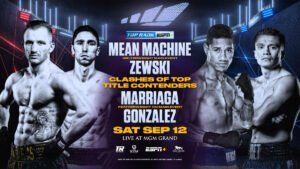 "Miguel Marriaga - The Mean Machine is ready to rise again. Welterweight contender Egidijus ""Mean Machine"" Kavaliauskas, a two-time Lithuanian Olympian coming off a valiant effort last December against Terence ""Bud"" Crawford, will face NABO welterweight title-holder Mikael Zewski in a 10-rounder Saturday, Sept. 12 from the MGM Grand Conference Center."