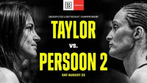 """Katie Taylor - Katie Taylor says she will silence her critics by putting on a """"dominant performance"""" when she defends her WBC, WBA, IBF, WBO, and Ring Magazine Lightweight World Titles against Delfine Persoon. It's a huge rematch at Matchroom Fight Camp this Saturday, August 22, live on Sky Sports Box Office in the UK and DAZN in the US."""