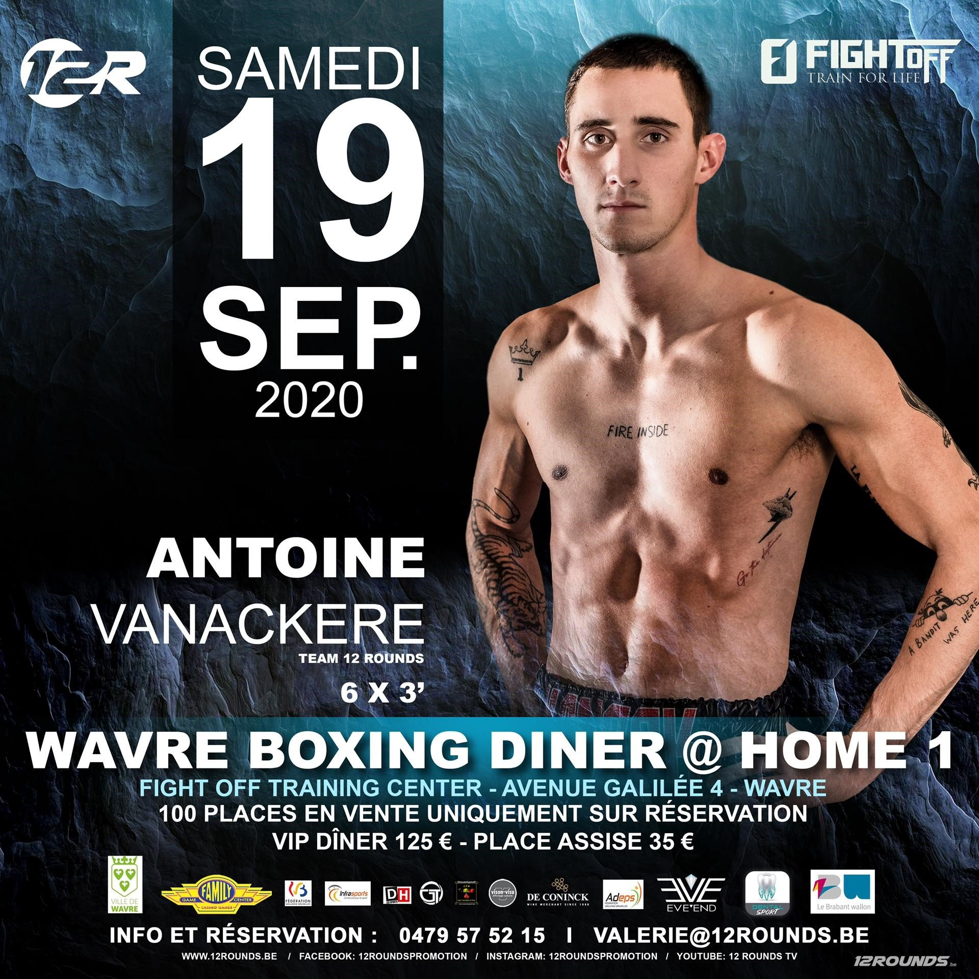 Antoine Vanackère - Belgium's first boxing show after the lockdown will be hosted today, September 19th with a live stream available on Facebook. 'After COVID' boxing show will have two professional fights and 8 amateur fights in Wavre. The event will be promoted by Belgium's biggest promoter 12 Rounds.