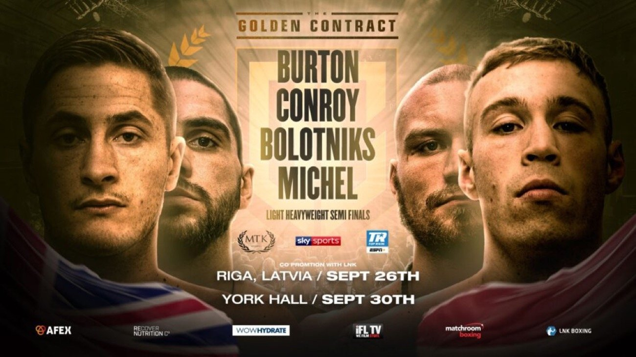 Hosea Burton, Liam Conroy, Ricards Bolotniks, Serge Michel - The Golden Contract light-heavyweight semi-finals were confirmed last night - after a dramatic draw from Production Park Studios in Wakefield.