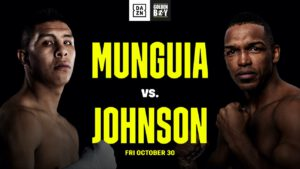 "Alexis Rocha, Rashidi Ellis - Golden Boy is delighted to present two highly competitive matchups featuring some of its best in-house talent on the stacked undercard of Munguia vs. Johnson. In the co-main event, Rashidi ""Speedy"" Ellis (22-0, 14 KOs) will face Alexis ""Lex"" Rocha (16-0, 10 KOs) in a 10-round bout for the vacant WBC International Silver Welterweight Title. The night will also feature an explosive matchup between standout contenders Marlen Esparza and Sulem Urbina in a world title eliminator."