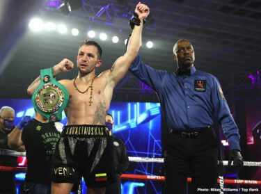 Egidijus Kavaliauskas, Joet Gonzalez, Miguel Marriaga, Mikael Zewski - Welterweight contender Egidijus Kavaliauskas (22-1-1, 18 KOs) put himself back in position to challenge for a world title in beating Mikael Zewski (34-2, 23 KOs) by an 8th round knockout on Saturday night in a thrilling rally at the MGM Grand in Las Vegas, Nevada.