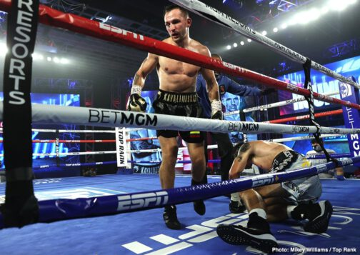 """Egidijus Kavaliauskas, Joet Gonzalez, Miguel Marriaga, Mikael Zewski - Egidijus """"Mean Machine"""" Kavaliauskas is a top welterweight contender once again. In his first fight since losing to pound-for-pound king Terence Crawford last December, Kavaliauskas knocked out Canadian veteran Mikael Zewski in the eighth round."""