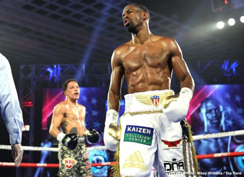 """Jamel Herring, Jonathan Oquendo, Steven Nelson - Jamel """"Semper Fi"""" Herring made up for the COVID-related postponements, defending his WBO junior lightweight world title via eighth-round disqualification over Puerto Rican challenger Jonathan Oquendo at the MGM Grand Conference Center."""