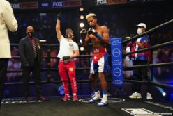 Abel Ramos, Yordenis Ugas - Yordenis Ugas scored a split-decision victory over Abel Ramos Sunday night to win the WBA Welterweight Championship in the main event of FOX PBC Fight Night and on FOX Deportes from Microsoft Theater in Los Angeles.