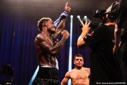 Jermall Charlo, Sergiy Derevyanchenko - Jermall Charlo (31-0, 22 KOs) had a much harder time than expected in winning a grueling 12 round unanimous decision win over #1 WBC contender Sergiy Derevyanchenko (13-3, 10 KOs) on Saturday night in a highly competitive contest on Showtime pay-per-view.