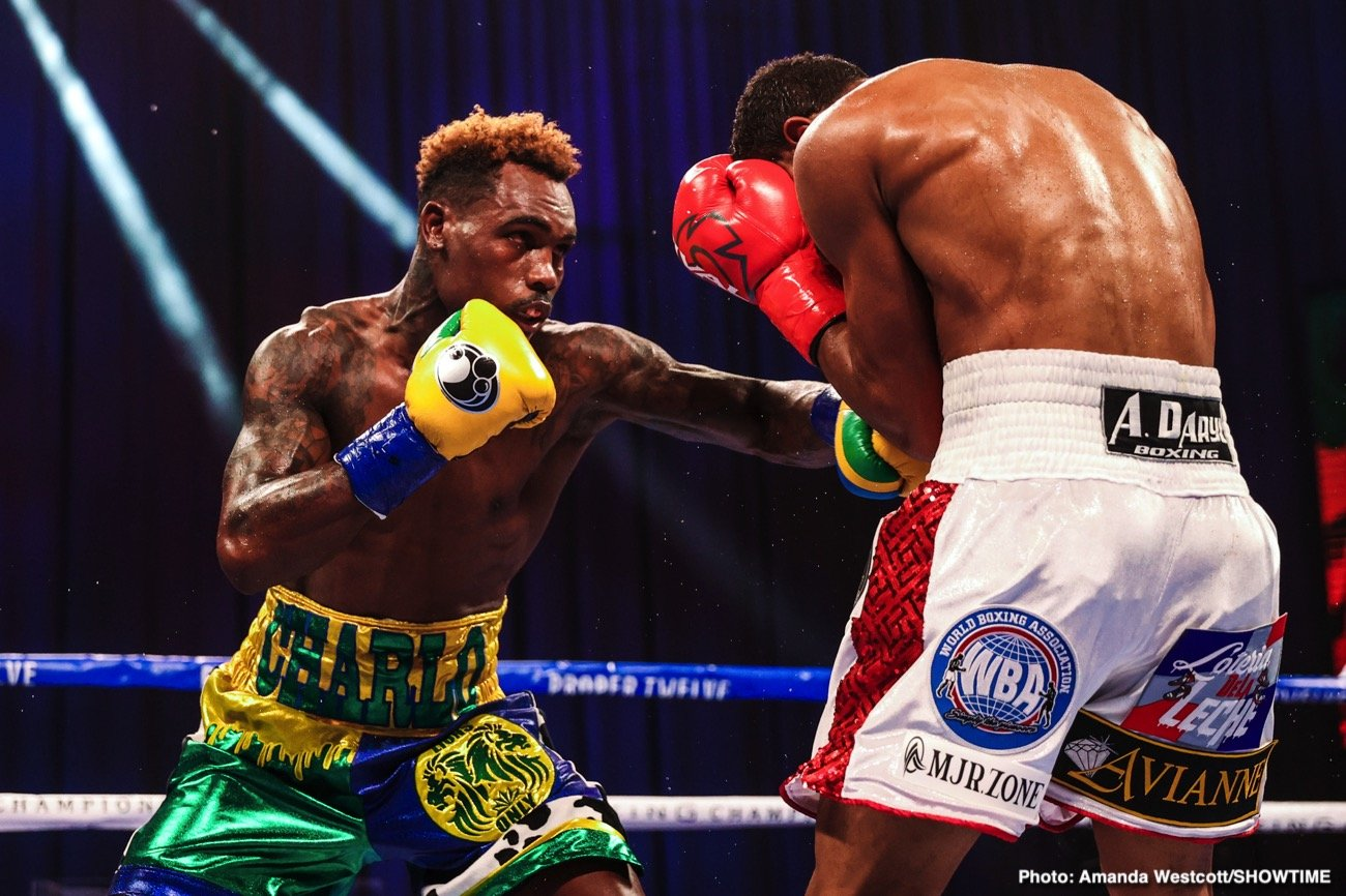 Jeison Rosario, Jermell Charlo - WBC junior middleweight champion Jermell Charlo's power came through for him in the 8th round with him knocking out IBF/WBA champion Jeison Rosario (20-2-1, 13 KOs) in the 8th round on Saturday night to add two new belts to his collection at the Mohegan Sun in Uncasville, Connecticut.