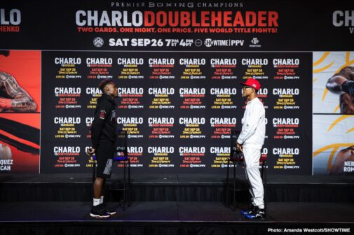 Aaron Alameda, Brandon Figueroa, Damien Vazquez, Danny Roman, Duke Micah, Jeison Rosario, Jermall Charlo, Jermell Charlo, John Riel Casimero, Juan Carlos Payano, Luis Nery, Sergiy Derevyanchenko - WBC Middleweight Champion Jermall Charlo and WBC Super Welterweight Champion Jermell Charlo previewed the CHARLO DOUBLEHEADER at final press conferences Wednesday, as they went face to face with the opponents presenting the most challenging tests of their careers.