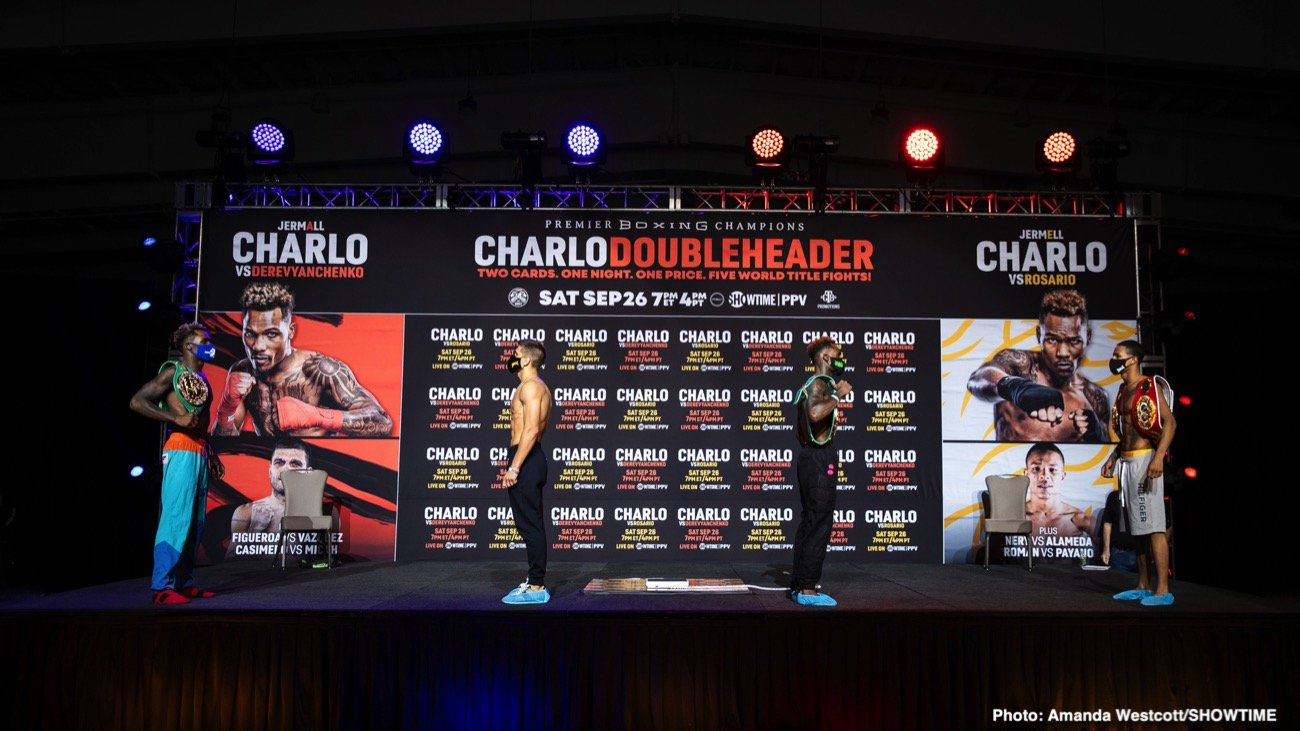 Brandon Figueroa, Danny Roman, Jeison Rosario, Jermall Charlo, Jermell Charlo, John Riel Casimero, Luis Nery, Sergiy Derevyanchenko - This Saturday, Jermell and Jermall Charlo hailing from Houston, Texas, try their luck in creative Showtime doubleheader PPV featuring worthy opposition. In the red corners will be Jeison Rosario and Sergey Derevyanchenko, both dangerously hungry fighters.