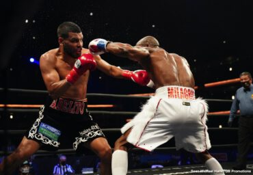Abel Ramos, Yordenis Ugas - #1 WBA welterweight contender Yordenis Ugas (26-4, 12 KOs) won the vacant WBA 147-lb title on Sunday evening in beating the highly motivated Abel Ramos (26-4-2, 20 KOs) by a 12 round split decision on Fox at the Microsoft Theater in Los Angeles, California. It was a fun fight to watch from round one through twelve.