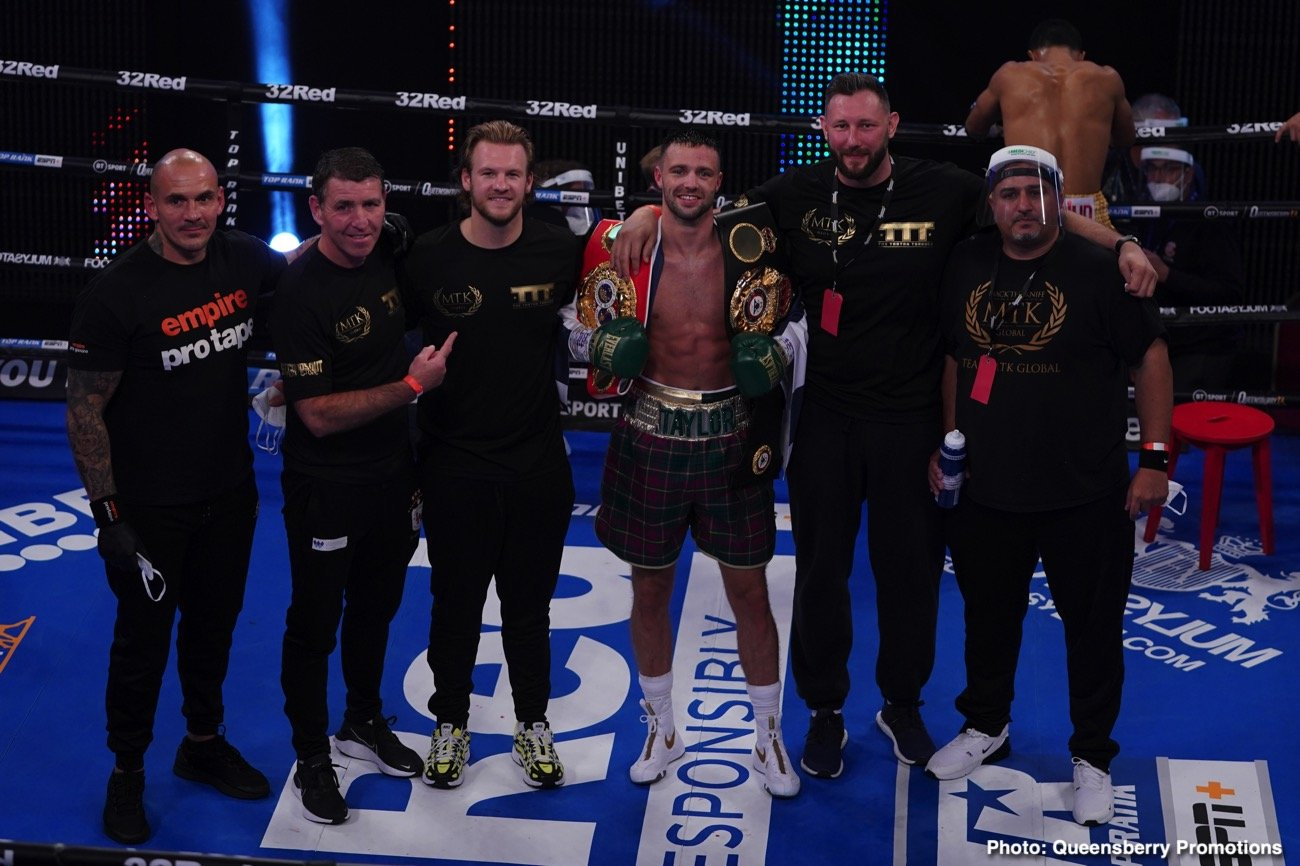 Apinun Khongsong, Charlie Edwards, Josh Taylor - Tonight at York Hall in London, WBA and IBF 140 pound champ Josh Taylor made things short and sweet for visiting challenger Apinun Khongsong of Thailand. Scottish warrior Taylor ended matters in the very first round with a wicked left hand body shot that left the previously unbeaten but untested challenger laid out in agony on the canvas.