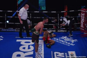 Charlie Edwards - Tonight at York Hall in London, WBA and IBF 140 pound champ Josh Taylor made things short and sweet for visiting challenger Apinun Khongsong of Thailand. Scottish warrior Taylor ended matters in the very first round with a wicked left hand body shot that left the previously unbeaten but untested challenger laid out in agony on the canvas.