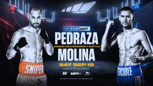 """Javier Molina - Former two-weight world champion Jose """"Sniper"""" Pedraza continues his quest for another world title against 2008 U.S. Olympian Javier """"El Intocable"""" Molina in a 10-round junior welterweight main event Saturday, Sept. 19 from the MGM Grand Conference Center."""