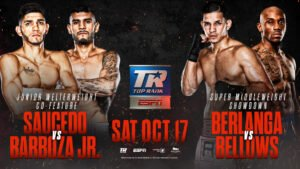 "Edgar Berlanga - The most anticipated fight of the fall — the Oct. 17 lightweight unification showdown between WBC Franchise/WBA/WBO world champion Vasiliy ""Loma"" Lomachenko and IBF kingpin Teofimo Lopez from the MGM Grand Las Vegas ""Bubble""— now has a two-course televised appetizer befitting the occasion."