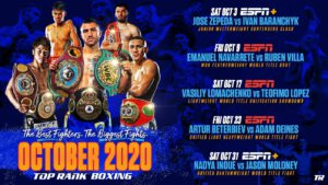 Naoya Inoue - Action-packed lineup, led by Lomachenko-Lopez (October 17), includes Inoue-Moloney (October 31), Beterbiev-Adam Deines (October 23), Navarrete-Ruben Villa (October 9) and Jose Zepeda-Ivan Baranchyk (October 3)