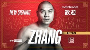 Zhang Zhilei - Zhang Zhilei has signed a promotional deal with Matchroom. Matchroom's deal with Zhang sees Eddie Hearn's promotional outfit appointed as the sole promoter of the Chinese star.