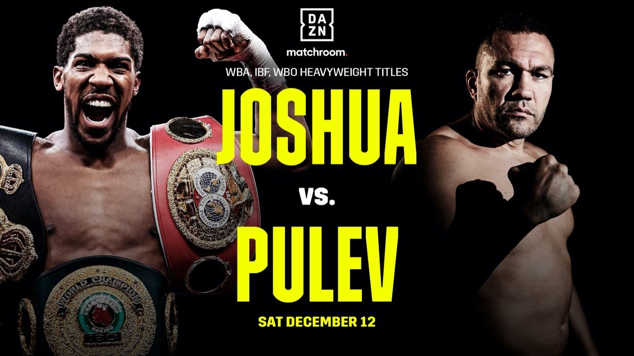 Anthony Joshua, Kubrat Pulev - Unified Heavyweight Champion of the World Anthony Joshua OBE will defend his IBF, WBA, WBO and IBO World Titles against Mandatory Challenger Kubrat Pulev at The O2 in London on Saturday, December 12, live on Sky Sports Box Office in the UK and on DAZN in all of its nine markets including the U.S., on a show promoted by Matchroom Boxing in association with Top Rank and Epic Sports and Entertainment.