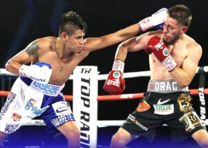 Emanuel Navarrete - New weight class, same buzzsaw. Former junior featherweight world champion Emanuel Navarrete defeated Ruben Villa via unanimous decision (115-111 and 114-112 2X) to win the vacant WBO featherweight world title Friday evening from the MGM Grand Las Vegas Conference Center.