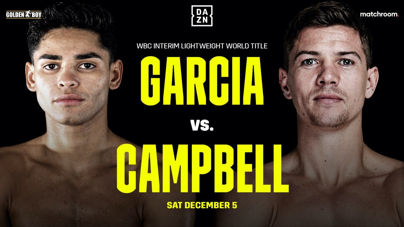 DAZN, Luke Campbell, Ryan Garcia - Ryan Garcia and Luke Campbell could be scheduled for the afternoon in the U.S on December 5th on DAZN to avoid conflicting with Errol Spence Jr vs. Danny Garcia match on pay-per-view that night. Steve Kim of ESPN is reporting the news that there's a possibility of Garcia and Campbell being moved to the afternoon on December 5th for the DAZN streamed fight.
