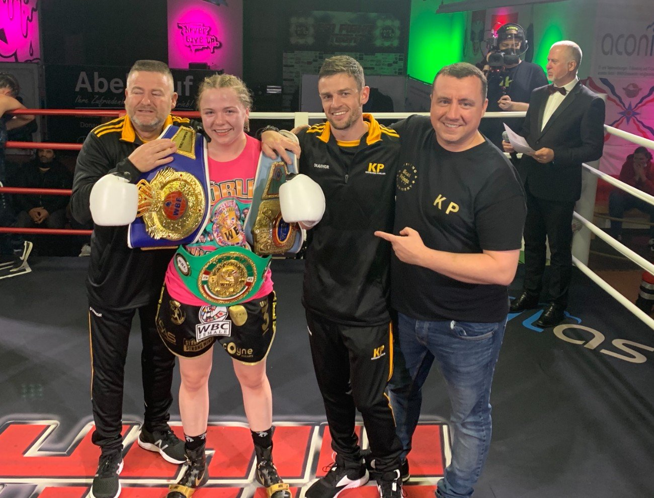 Jessica Schadko, Katelynn Phelan - Katelynn Phelan from Kildare Town went into the proverbial lion's den on Saturday night in Germany and emerged with three belts and the women's boxing world's collective attention.