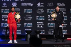 "Gervonta Davis, Leo Santa Cruz -  Three-time world champion Gervonta ""Tank"" Davis and four-division champion Leo ""El Terremoto"" Santa Cruz squared off at a final press conference Thursday to preview their highly anticipated SHOWTIME PPV (9 p.m. ET/6 p.m. PT) main event showdown taking place this Saturday, October 31 from Alamodome in San Antonio in an event presented by Premier Boxing Champions."