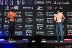 "Gervonta Davis, Juan Heraldez, Leo Santa Cruz, Mario Barrios, Regis ""Rougarou"" Prograis, Ryan Karl - Gervonta 'Tank' Davis quieted the critics in weighing in successfully at 129.8 pounds. WBA super featherweight champion Leo Santa Cruz weighed in at 129.6 lbs for their much-anticipated fight this Saturday on October 31st, on Showtime PPV at the Alamodome in San Anton, Texas."