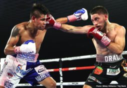 Elvis Rodriguez, Emanuel Navarrete, Janibek Alimkhanuly, Ruben Villa - New weight class, same buzzsaw. Former junior featherweight world champion Emanuel Navarrete defeated Ruben Villa via unanimous decision (115-111 and 114-112 2X) to win the vacant WBO featherweight world title Friday evening from the MGM Grand Las Vegas Conference Center.