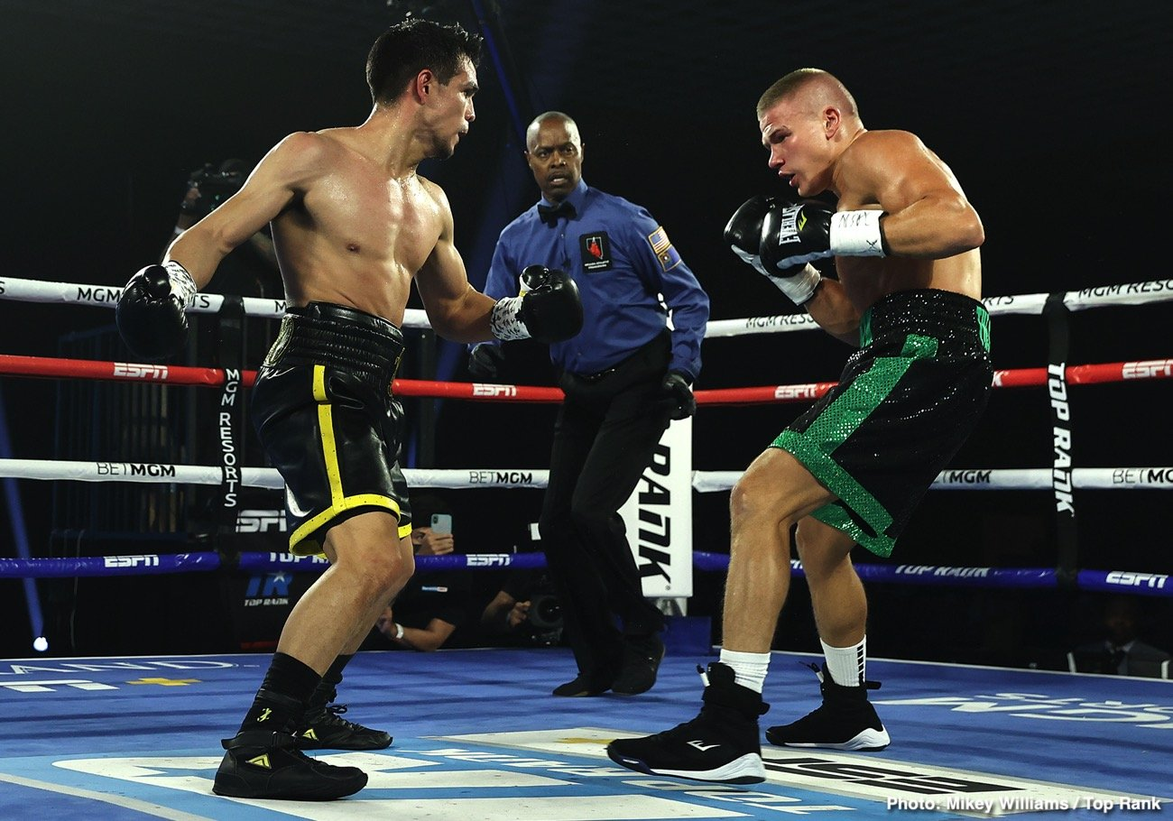 """Ivan Baranchyk, Jose Zepeda - In a fight that saw both fighters hit the deck four times, Jose """"Chon"""" Zepeda (33-2, 25 KOs) beat former IBF 140-lb Champion Ivan Baranchyk (20-2, 13 KOs) by a terrific 5th round knockout in a WBC light welterweight title eliminator on Saturday night at the Bubble at the MGM Grand in Las Vegas, Nevada."""