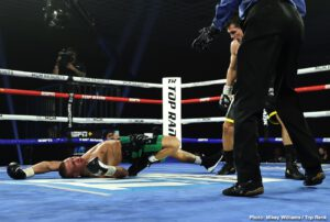Ryan Kielczweski - Jose Zepeda knocked out Ivan Baranchyk in the fifth round of their junior welterweight instant classic Saturday evening at the MGM Grand Las Vegas. Both men hit the canvas four times, but it was a left hand from Zepeda, a two-time world title challenger, that ended the fight. Eight knockdowns. Fight of the Year.