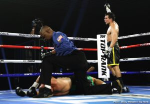 """Top Rank - Everything that is great about boxing was on display last night in a great fight that has been dubbed """"The Battle In The Bubble."""" 140 pounders Jose Zepeda and Ivan Baranchyk went to war and the two sluggers exchanged no less than eight knockdowns over five absolutely sensational rounds of action."""