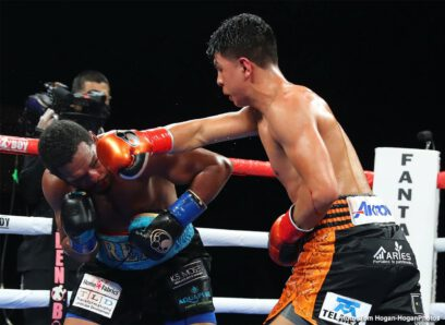 Alexis Rocha, Jaime Munguia, Rashidi Ellis, Tureano Johnson - Mexican star Jaime Munguia (36-0, 29 KOs) retained his WBO Intercontinental Middleweight Championship by defeating Tureano Johnson (21-3-1, 15 KOs) of Nassau, Bahamas tonight at Fantasy Springs Resort Casino and live on DAZN. The fight ended in abrupt fashion after an uppercut from Munguia caused a severe cut on Johnson's lip, which earned him the knockout win at the send of the sixth round.