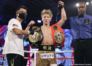 """Naoya Inoue - Though Japanese """"Monster"""" Naoya Inoue didn't score the KO of the night last night (this honor has to of course go to Gervonta Davis; """"Tank's"""" brutal one-punch KO of the seriously tough Leo Santa Cruz arguably The KO of The Year), the unbeaten bantamweight sensation certainly delivered a fine performance in crushing a game and dangerous Jason Moloney in seven rounds to retain his IBF and WBA 118 pound titles."""