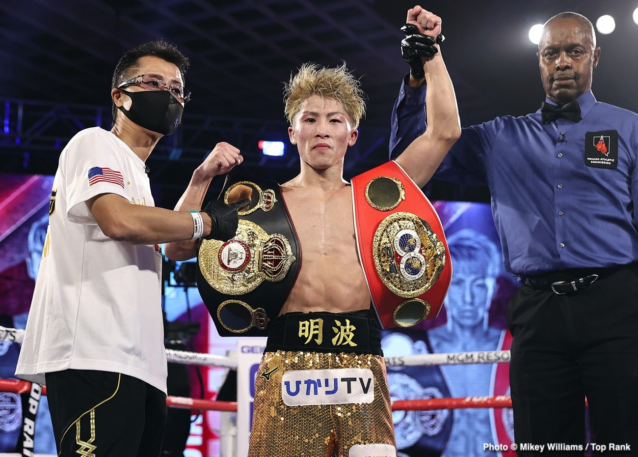 """Jason Maloney, Naoya Inoue - Though Japanese """"Monster"""" Naoya Inoue didn't score the KO of the night last night (this honor has to of course go to Gervonta Davis; """"Tank's"""" brutal one-punch KO of the seriously tough Leo Santa Cruz arguably The KO of The Year), the unbeaten bantamweight sensation certainly delivered a fine performance in crushing a game and dangerous Jason Moloney in seven rounds to retain his IBF and WBA 118 pound titles."""