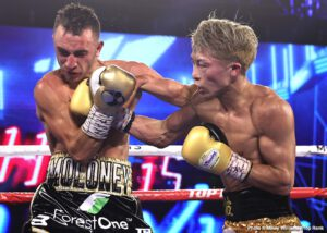 """Naoya Inoue - The Monster came to Las Vegas. He conquered. Naoya """"Monster"""" Inoue, the pound-for-pound talent from Japan, defended his WBA/IBF/Ring Magazine bantamweight world titles Saturday with a seventh-round knockoutover Australian contender Jason """"Mayhem"""" Moloney."""