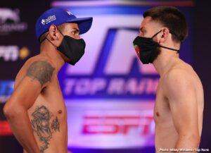 Emanuel Navarrete - Weigh-In Results: Emanuel Navarrete Battles Ruben Villa for Vacant WBO Featherweight World Title at 10 p.m. ET / 7 p.m. PT live on ESPN - Undercard action to stream LIVE on ESPN+ at 7:30 p.m. ET / 4:30 p.m. PT