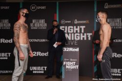 Andrew Robinson, Liam Williams, Nathan Gorman, Richard Lartey - Boxing returns once more to the BT Studio tomorrow night at 7pm on BT Sport 1. In the headline fight, Liam Williams defends his British title against mandatory challenger Andrew Robinson.