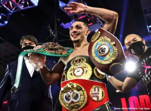 Teofimo Lopez - Teofimo Lopez proved many of his doubters wrong in dominating the betting favorite Vasily Lomachenko beating him by a comfortable 12 round unanimous decision to become the undisputed lightweight champion age 23 last Saturday night in Las Vegas, Nevada.