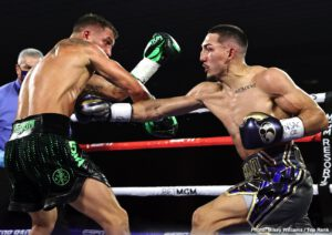 "Teofimo Lopez - IBF lightweight champion Teofimo Lopez (16-0, 12 KOs) fought well in beating WBA/WBC/WBO champion Vasily Lomachenko (14-2, 10 KOs) in beating him by an upset 12 round unanimous decision by a fairly wide set of scores on Saturday night at the ""The Bubble"" at the MGM Grand in Las Vegas."